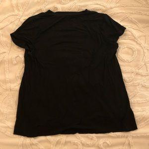 Tobi Tops - Black strappy v-neck tee shirt